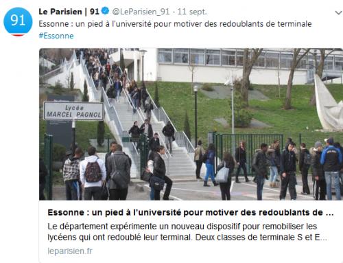 Redoublants de terminale sans lycée : la FSU 91 et le SNES-FSU Versailles dénoncent une situation injuste et prévisible (Le Parisien, 11 septembre 2018)