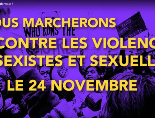 Nous, syndicalistes, marcherons pour dire stop aux violences sexistes et sexuelles que subissent les femmes au travail